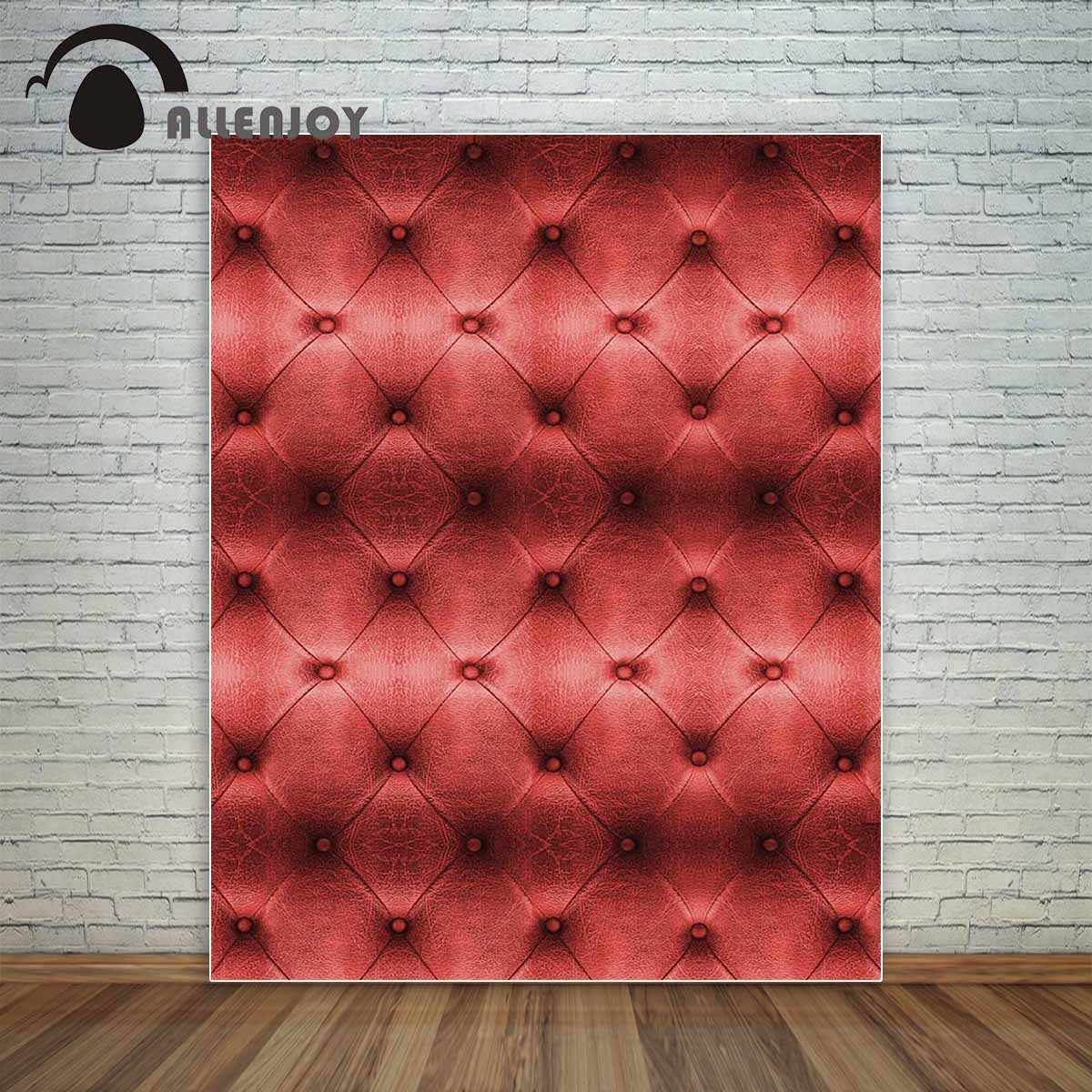 Allenjoy vinyl photo backdrop Luxury red leather sofa texture classic  button bed board background photobooth new arrival design