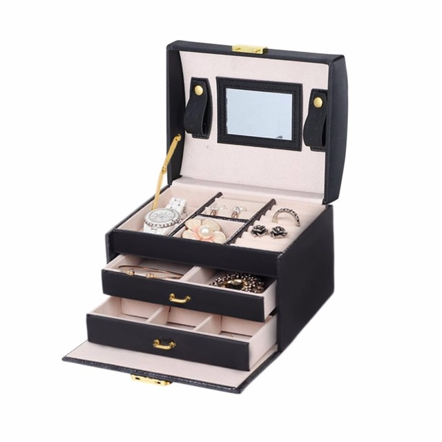 3 Layers Jewelry Display Box Exquisite Makeup Case Box Organizer
