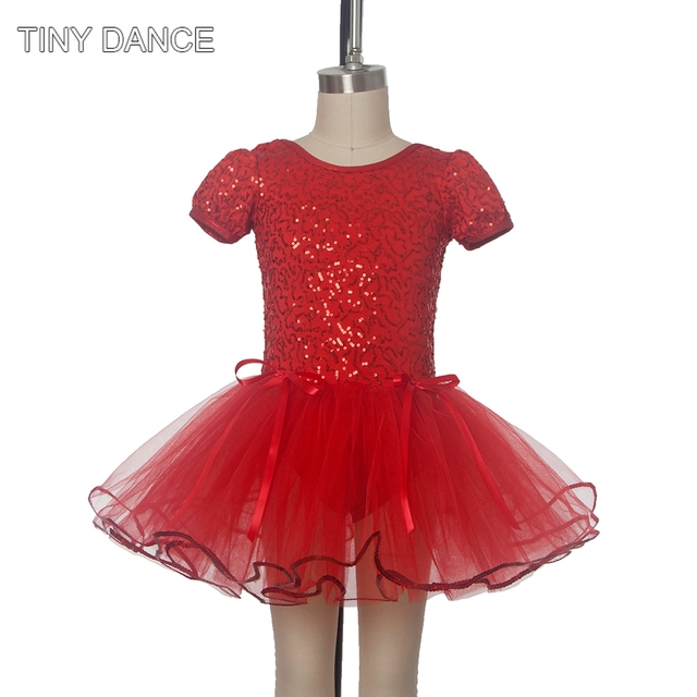 3f5372c06 Free Shipping Red Sequin Dance Costumes for Kids Ballet Tutu Dress ...