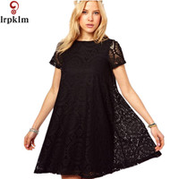 2017 S 4XL Plus Size Women Floral Lace Dresses Short Sleeve Party Casual Color Navy Green