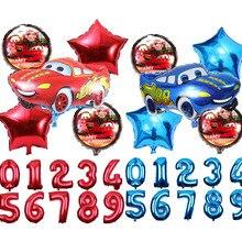 6 Pcs Cartoon Car Foil Balloons 18 Inch Round Car Balloon Red&Blue&Black Number 1-9 Kid