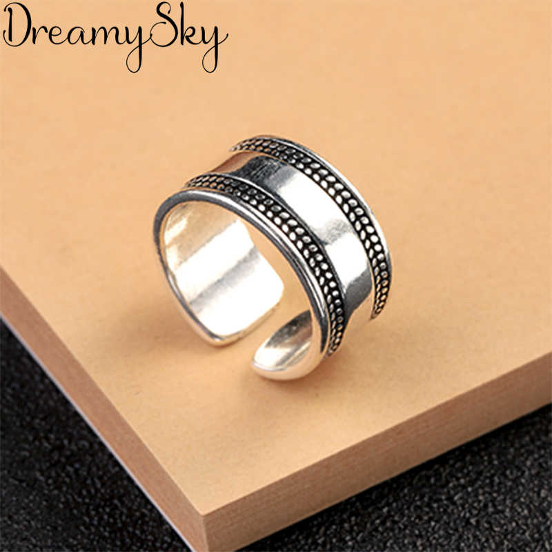 Bijoux Vintage 925 Sterling Silver Large Rings For Girl Ladies Adjustable Size Statement Ring Wedding Party Jewelry Anillos