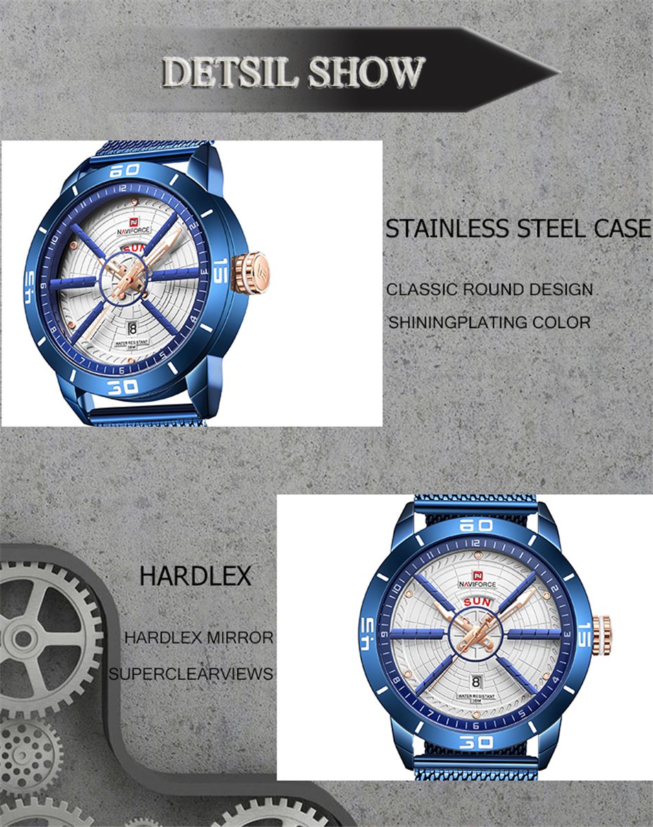 NAVIFORCE Mens Watches Top Brand Luxury Quartz Watch Men Full Steel Men Watch Sport Fashion Business Watches Relogio Masculino 19