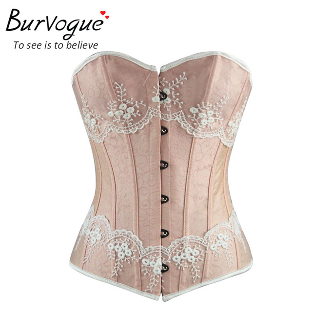 Burvogue Sexy Lingerie Shape Figure Corset Top Boned Strapless Corset Waist Bustiers Lace Up Overbust Cincher For Women