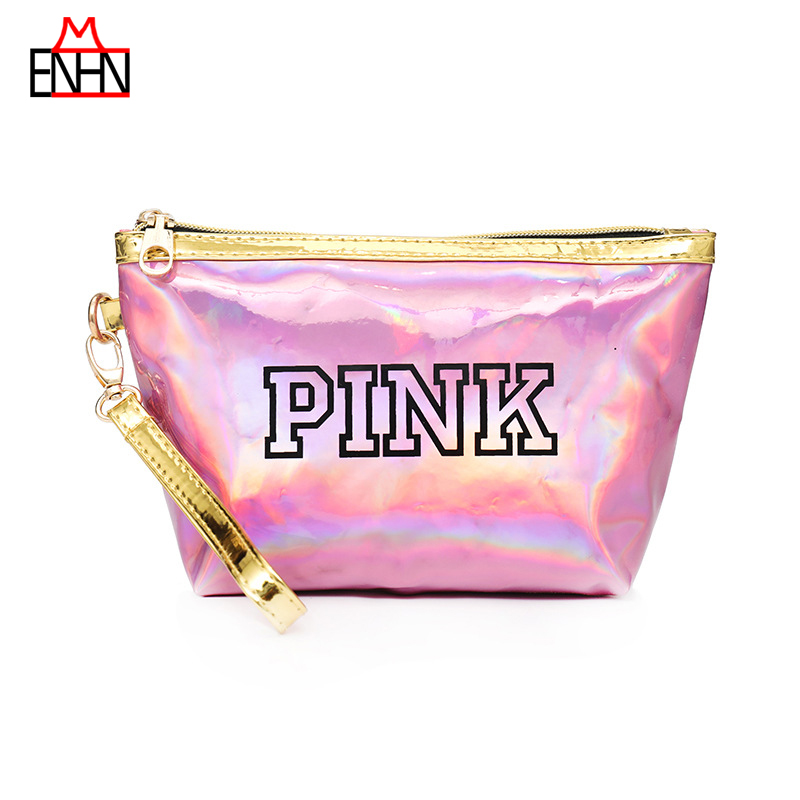 ENHNM Fashion Women Handbags Hobos Pink Letter PVC Jelly Small Bags Female Ladies Bags Sac Femme Tote Laser Holographic Purse