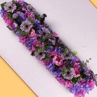 1M luxury Wedding Road Lead Flower Rose Lily Hydrangea Flower Combination DIY Arched Door Flower row Window T Stage Wedding Deco