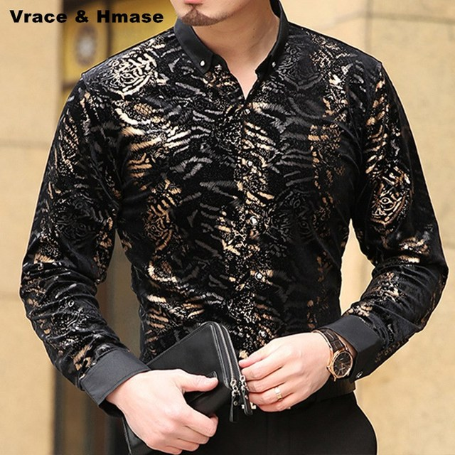 Fashion personality leopard print gold velvet quality shirt New arrival Autumn&Winter bussiness casual boutique shirt men S-XXXL