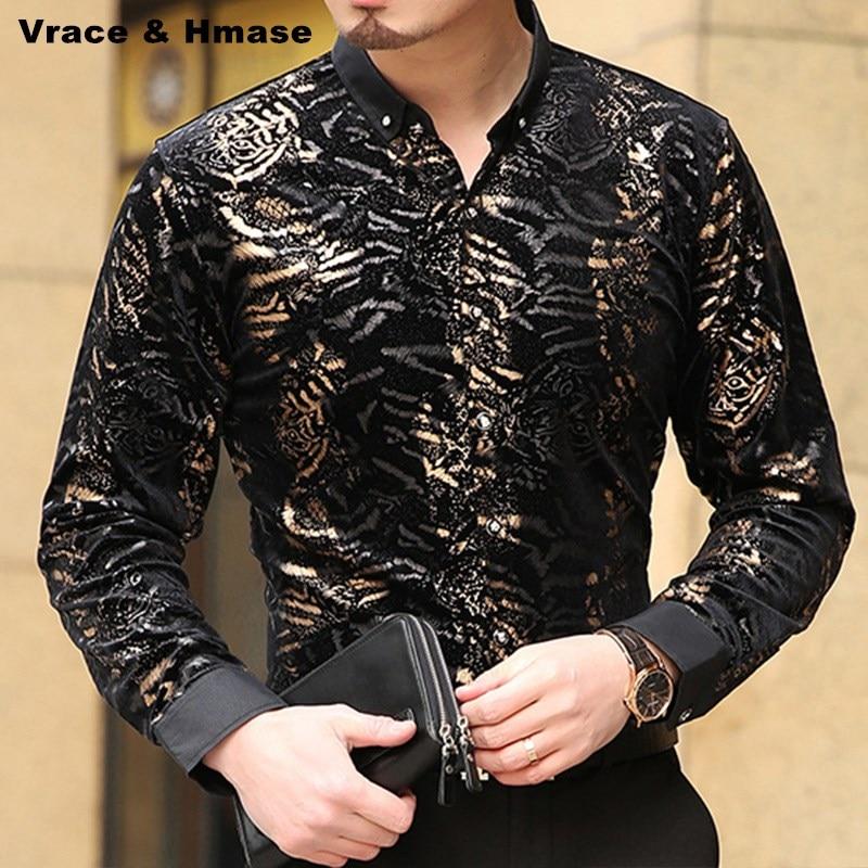 Personalidade da moda leopardo impressão de veludo ouro qualidade camisa New arrival Outono & Inverno casual bussiness camisa boutique dos homens S-XXXL