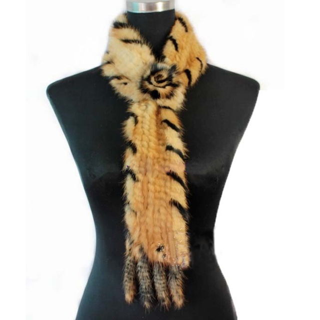 Scarf Women CDS013 Fashion Knitted Mink Fur Scarf With A Flower For Women in winter Multicolor Fur Shawl Tie fur scarf