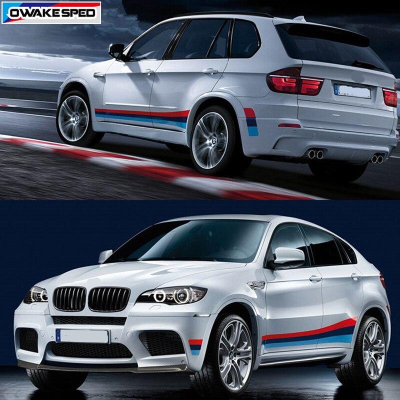 Автомобильная дверь боковая юбка наклейка гоночный спортивный стиль авто боди Декор Наклейка s триколор Спорт виниловые наклейки для BMW X1 X3 X4 X5 X6