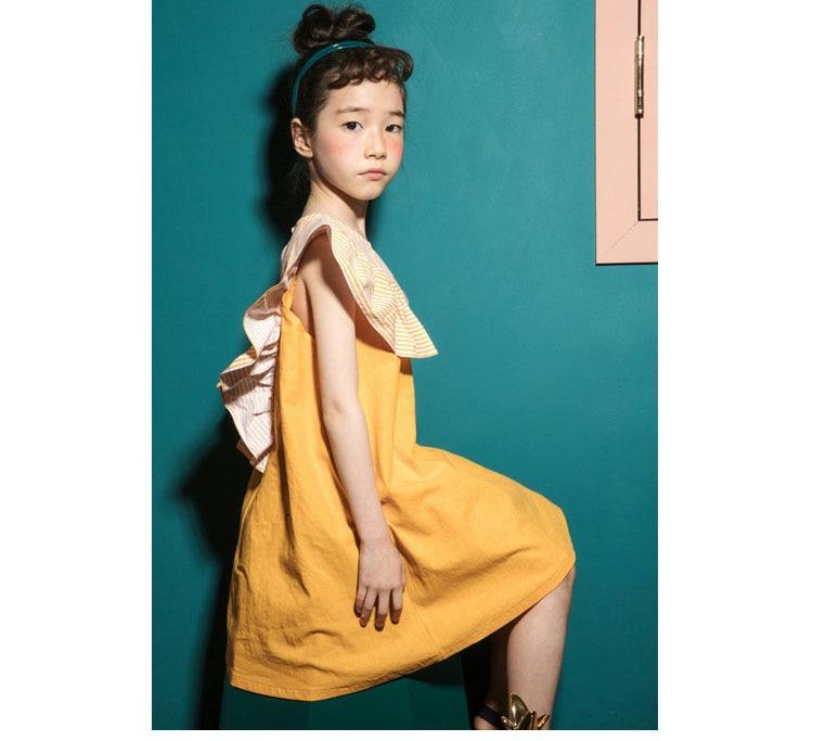 2018 fashion patchwork ruffles dress baby girls dresses for kids summer petal sleeve cotton princess dresses children clothing   (1)