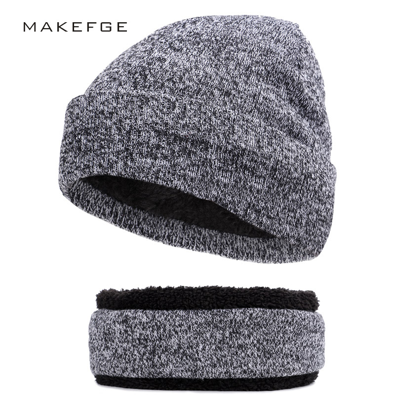 Apparel Accessories Men's Hats Lovely 2018 New Fashion Brand Hat Scarf 2 Pieces Set Plus Velvet Thickening Beanie Scarves Man Woman Warm Bone Solid Color Ski Soft