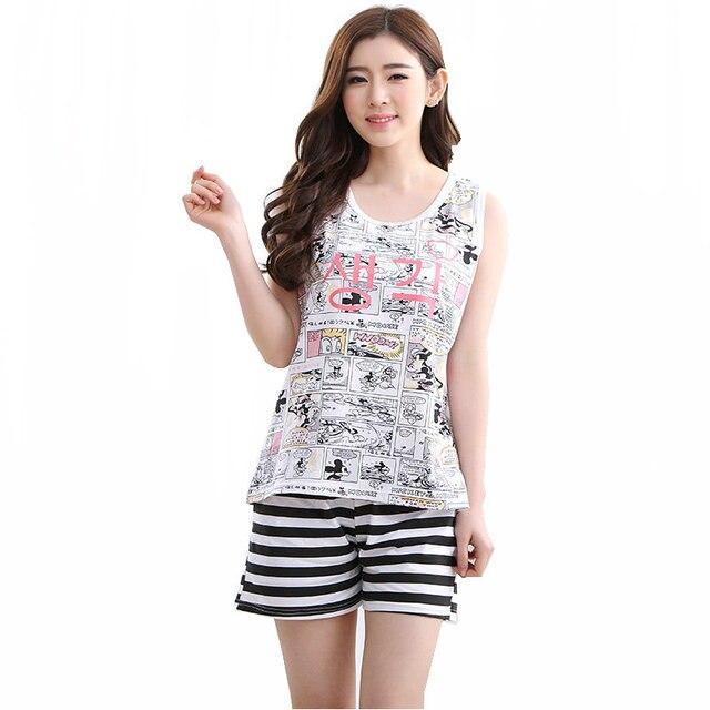 92e072e466 New Arrival Summer Cotton Women s Pajama Sets Striped Cartoon Sleepwear  Mujer Pijama Feminino Pajamas Pyjamas Plus 3XL Fashion