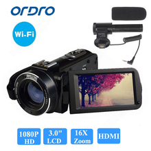 "Ordro HDV-Z20 WIFI 1080P Full HD Digital Video Digicam Camcorder 24MP 16X Zoom Recoding three.zero"" LCD Display screen distant management"