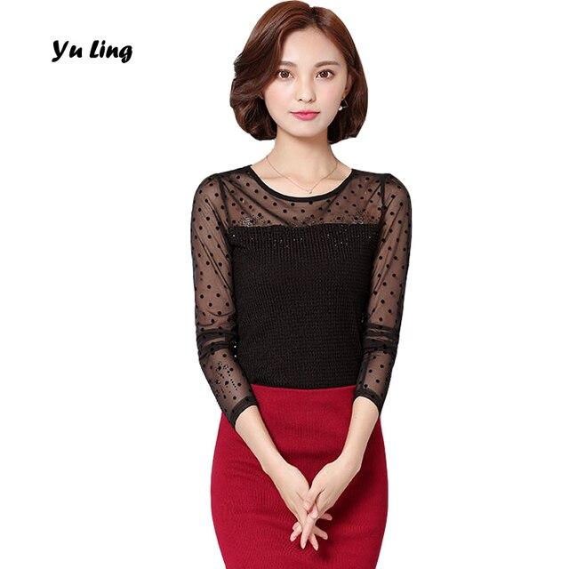 Spring Women 's New Casual Net Yarn Dot T-Shirt Women Fashion Shopping Party