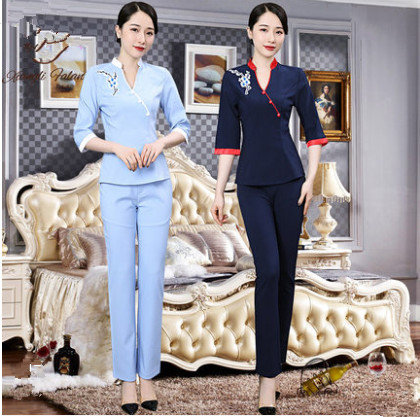 Honest 2018 Autumn/winter New Beauty Salon Uniforms Womens Club Workwear Spa Technician Clothing Set blouse+pants Be Friendly In Use