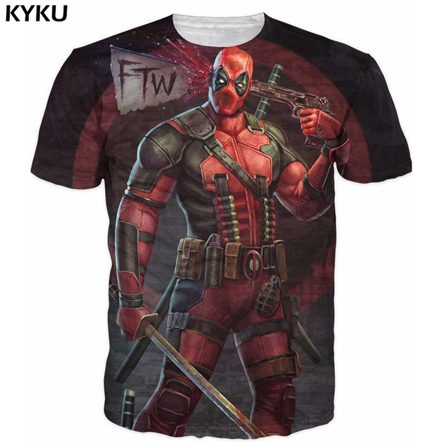 2016 New Arrive American Comic Badass Deadpool T-Shirt Tees Men Women Cartoon Characters 3D t shirt Funny Casual tee shirts top