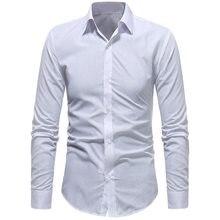 02d142162c StreetwearTop LASPERAL Longo-sleeved Camisas dos homens Macho Magro Camisa  de Cor Sólida Em Relevo Moda Mens Camisas Casual Slim.