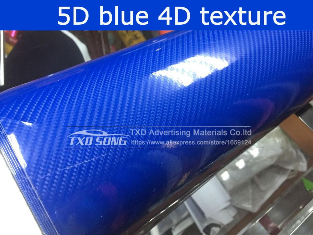 Высокое качество ультра-синий глянец 5D углеволоконная виниловая Обёрточная бумага 4D текстура супер глянцевая 5D углерода Обёрточная бумага s с 10/20 Вт, 30 Вт/40/50/60X152 см - Название цвета: Blue 5D texture