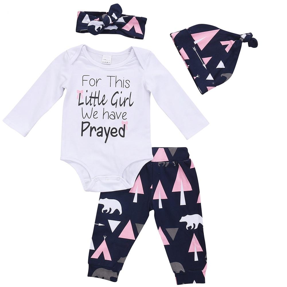 Spring Autumn 4Pcs Newborn Baby Girls Long Sleeve Tops Romper +Geometric Pants +Hat +Headband Outfits Set Clothes