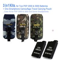 Game accessories for Two PSP Batteries + One PSP Camouflage Travel Carrying Pouch, Case Bag For All SONY PSP 2000,3000