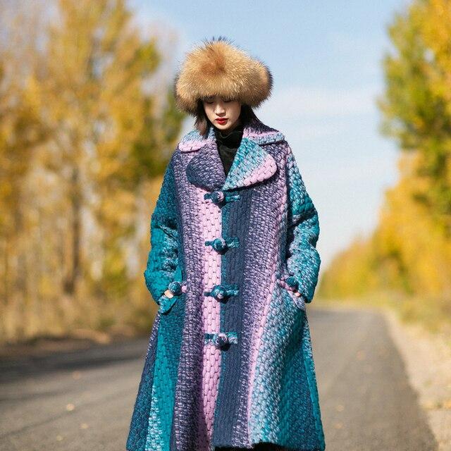 MM077 Новое Прибытие Осенью и Зимой 2016 градиент цвета пальто винтаж однобортный свободные линии x долго шерстяное пальто женщины