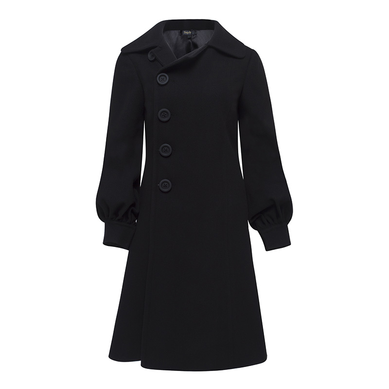 Female Coats Elegant Single Breasted Fall Winter Wool Blends Lapel Outerwear Dress Long Sleeve Buttons coats Women Black Coat sophisticated style lapel ripple buttons long sleeve coat for women
