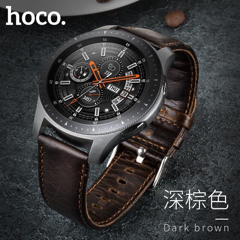 HOCO Retro Brown Echtes Leder Strap für Samsung Galaxy Uhr 46mm Version SM-R800 Band Armband Uhrenarmbänder