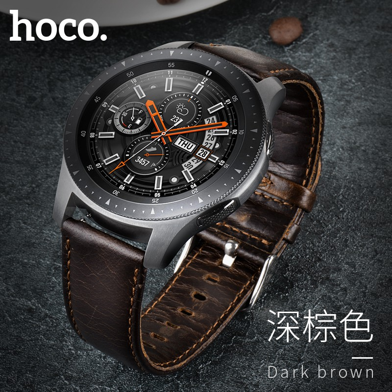 HOCO Retro Brown Genuine Leather Strap for Samsung Galaxy Watch 46mm Version SM-R800 Band Bracelet Watchbands