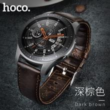 Hoco 레트로 브라운 정품 가죽 스트랩 삼성 갤럭시 시계 46mm 버전 SM R800 밴드 팔찌 시계 밴드