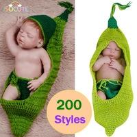 ISOCUTE 2017 Groene Bean Pasgeboren Fotografie Props baby Hoed Shorts Slaapzak Set Baby Fotografie Accessoires Pasgeboren Kostuum