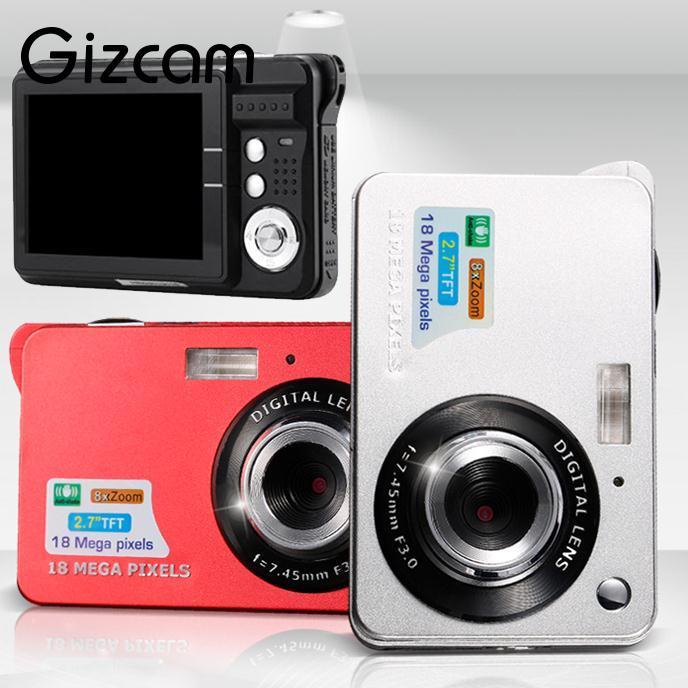Горячие gizcam портативный 2.7 TFT 18MP 8x зум 720 P HD ЖК-дисплей цифровой Камера Anti-Shake CMOS видеокамера видео Micro Камера США Plug