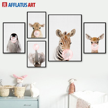 AFFLATUS Wall Art Flower Painting Panda Deer Balloon Nordic Posters And Prints Animal Wall Pictures Прикраса для дітей в Північному стилі.