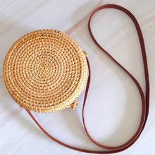 Round Style Straw Bag Handbags Women Summer Rattan Handmade Woven Beach Circle Bohemia Handbag New Fashion