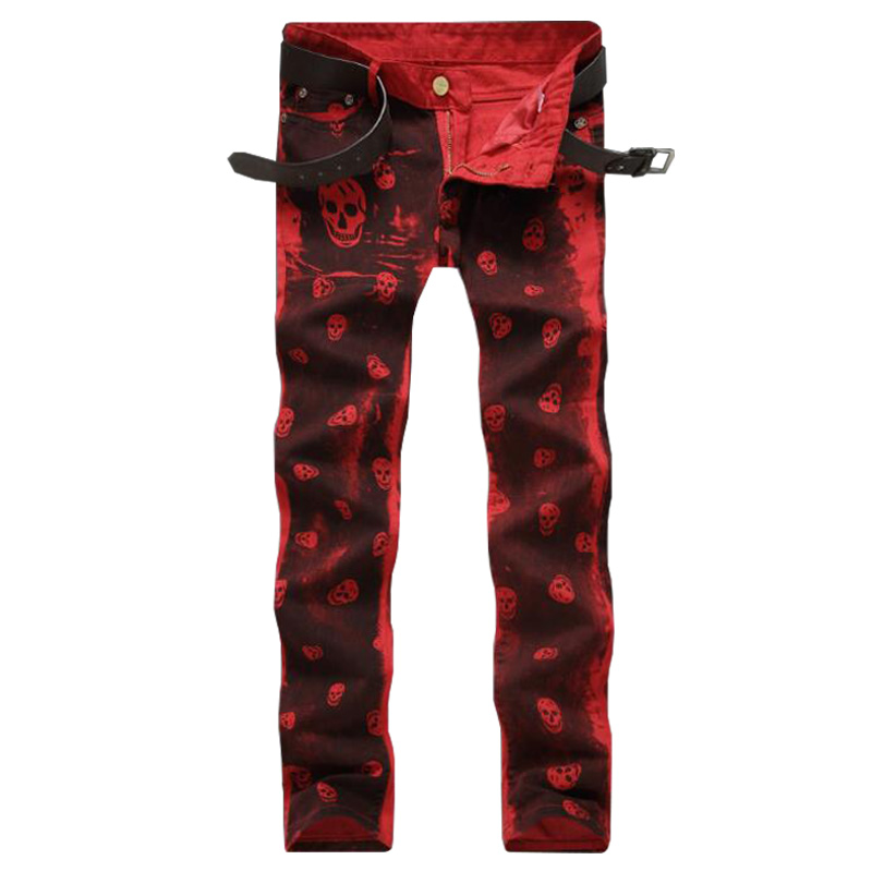 New Night Club Men Jeans Red White Skull Pattern Printed Punk Slim Fit Motorcycle Biker Jeans Skinny Cotton Denim Pants charter club 2738 new womens white cotton henley top shirt petites ps bhfo