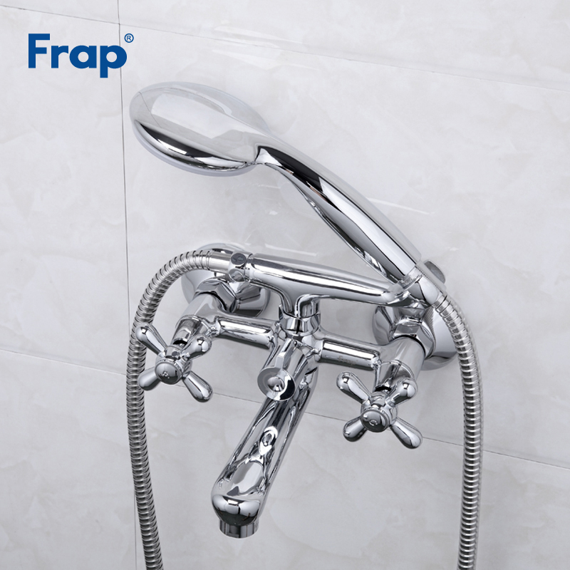 Frap New Bathtub Faucets Brass Shower Set Mixer Tap Single Handle Double Handle Shower Wall Mounted