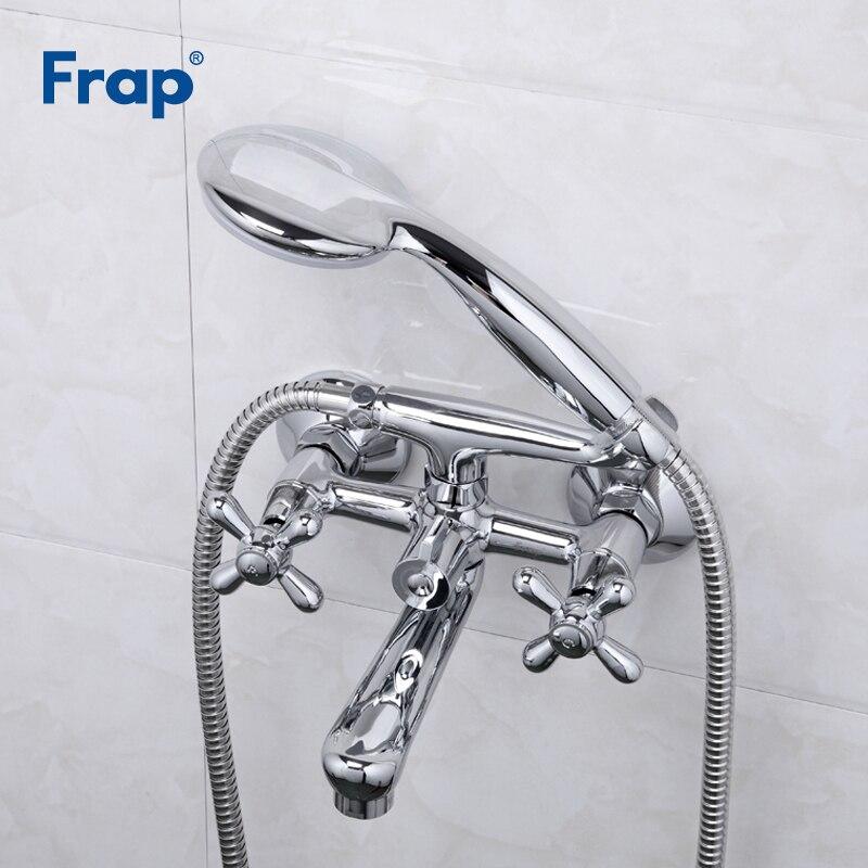 Frap 新浴槽の蛇口真鍮シャワーセットミキサータップシングルハンドル、ダブルハンドルシャワー浴室 Torneira F3025 用にマウント  グループ上の 家のリフォーム からの シャワー 蛇口 の中 1