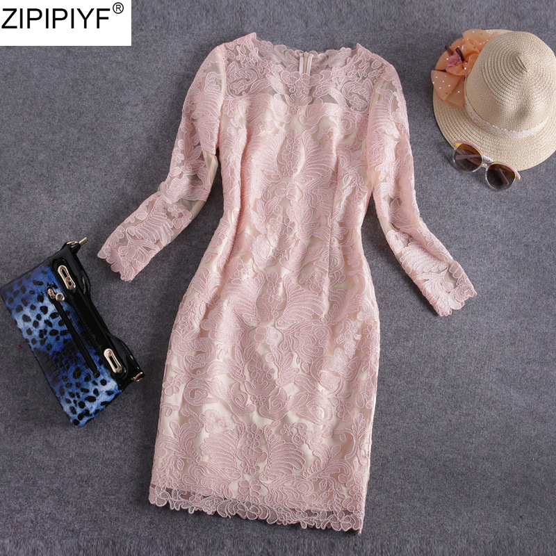 Streetwear Style Vintage Embroidery Hollow Out Lace Long Sleeve O-Neck Bodycon Dress Women Solid Knee-Length Pencil Dress C162 hollow out embroidery panel dress