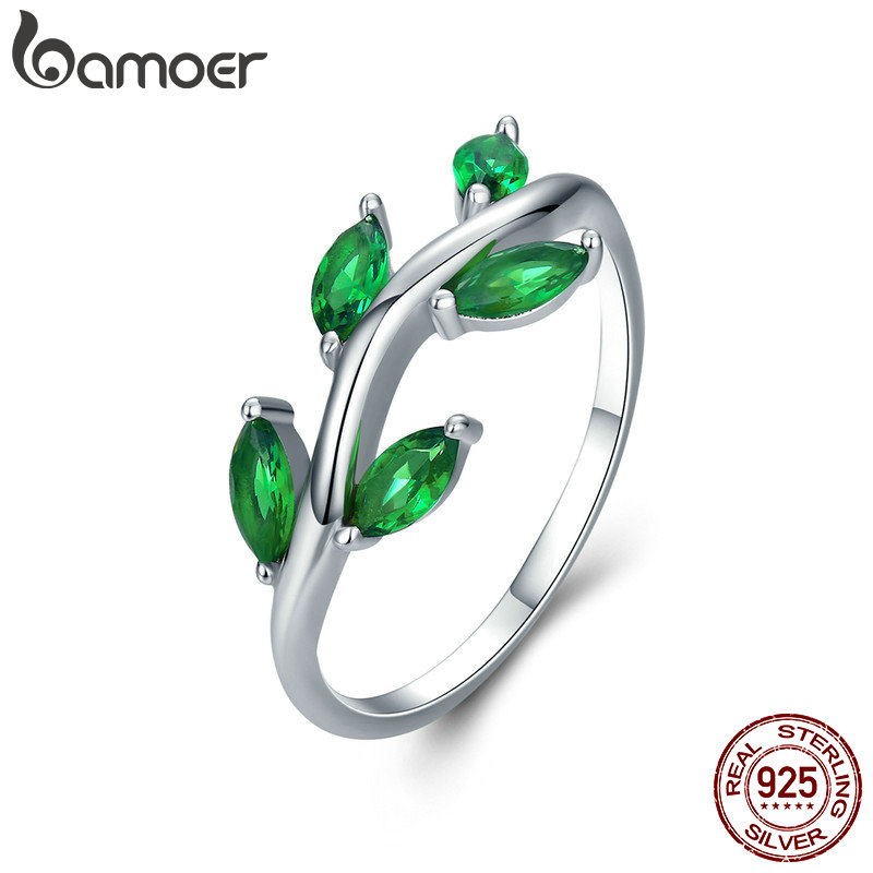 BAMOER High Quality 925 Sterling Silver Tree of Life Green CZ Crystal Finger Rings for Women Sterling Silver Jewelry Anel SCR327 vanaxin 925 sterling silver rings for men jewelry iced out cz crystal anel masculino joias engagement wedding rings bague homme