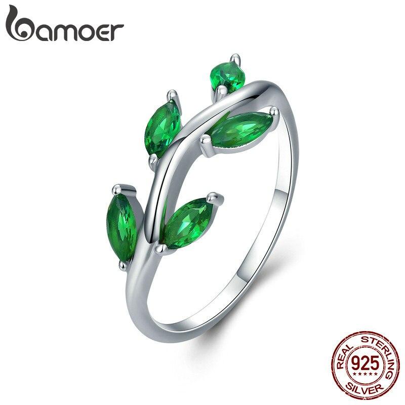 BAMOER alta calidad 925 Árbol de la vida verde CZ cristal anillos de dedo para las mujeres joyería de plata de ley Anel SCR327