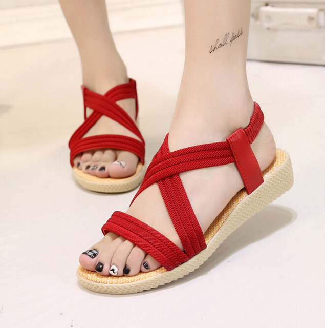 Summer Fashion  Shoes Flat Heel Flip Gladiator Brief Herringbone Flip-flop Sandals Flat Women's Shoes m345