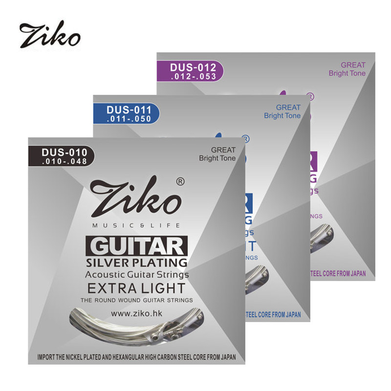 Acoustic Guitar Strings Sets ZIKO 010-048 DUS-010  Silver Plating Guitar Parts Musical Instruments Accessories