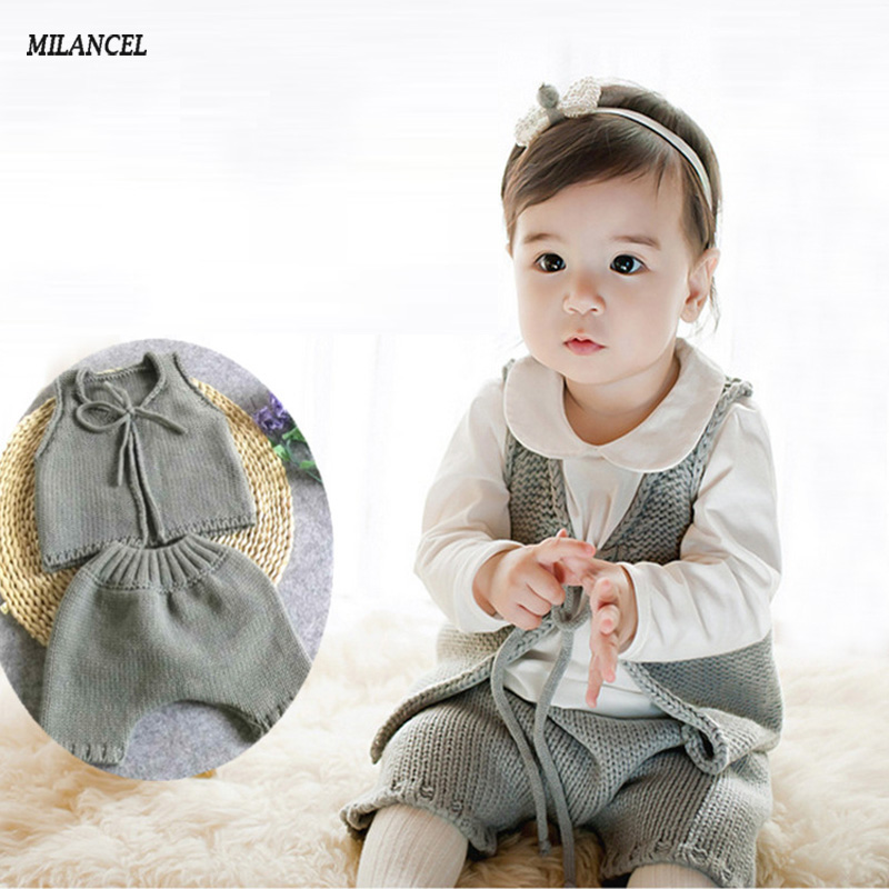 2017 New Infant Baby Boys Girls Sets Solid Vest Tops+Harem Pants 2pcs Outfits Toddlers Suits Baby Clothes 6-12M Knitted Baby Set baby girls summer suits sleeveless vest shirt cute floral harem pants floral sets