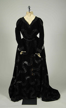 1900  French Black Victoria Fashionable Bustle Dinner Dress Salvage Antique Victorian Dresser Pull