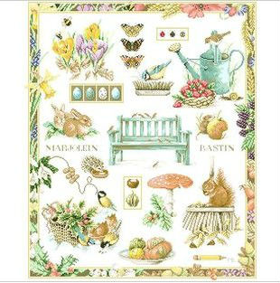 Embroidery Package Free Shipping  Cross Stitch Kits   Pretty Garden Tree Flower Animal Fruit   00171