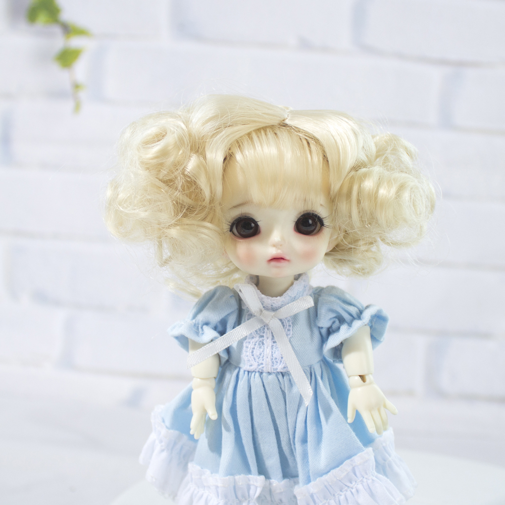 Doll Hair Wigs Yellow Ombre Curly Wigs For Cute Baby Doll 1/8 BJD/SD Dolls Heat Resistant Wire