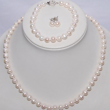 3 цвета, натуральный пресноводный жемчуг, ювелирный набор, 8-9 мм, жемчужное ожерелье/браслет/серьги, набор, Модный свадебный ювелирный набор