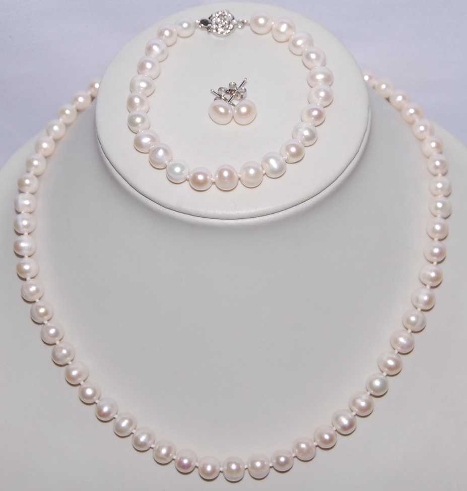 3 color Natural Freshwater Pearl Jewelry Set, 8-9mm Pearl Necklace/Bracelet/Earrings Set, Fashion Bridal Jewelry Set