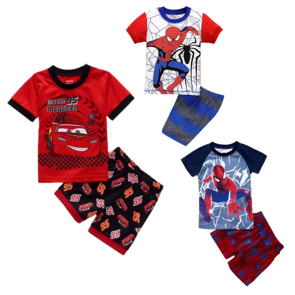 2016 New Summer Toddler Baby Kids Boys Cartoon Cars Spider-man Shorts Sleeve T-shirt and Shorts Outfits Clothes Sets 2PCs