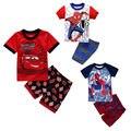 2016 Nuevo Verano Del Niño Del Bebé Infantil Chicos Cartoon Coches Spider-man Pantalones Cortos Manga Camiseta y Pantalones Cortos Trajes Ropa Conjuntos 2 Unids
